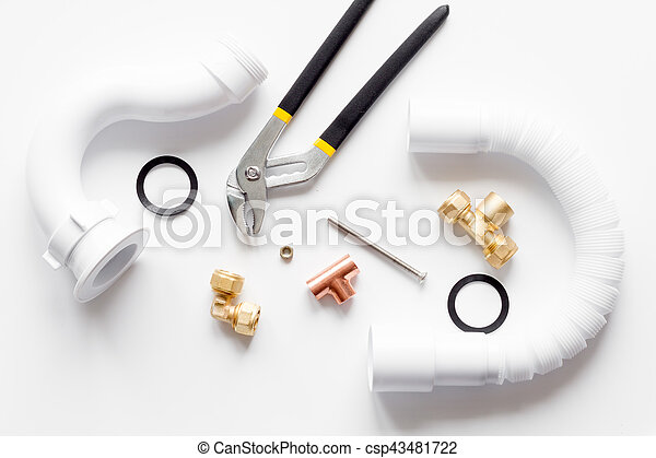 concept plumbing work top view on white background - csp43481722