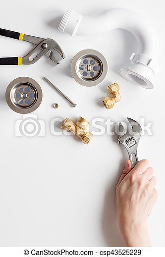 concept plumbing work top view on white background - csp43525229