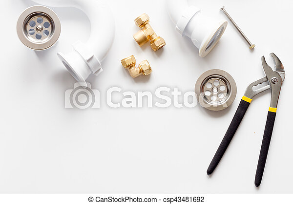 concept plumbing work top view on white background - csp43481692