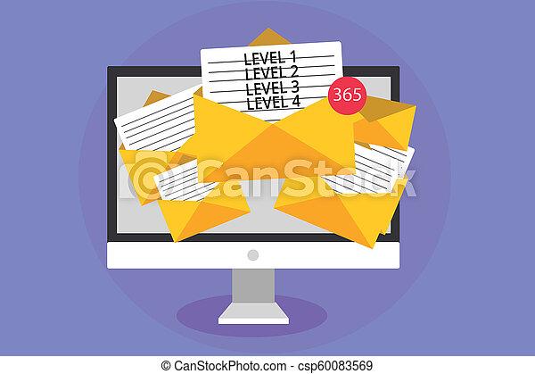 concept, processus, texte, informatique, virtual., 1, écriture, 4., 3, 2, enveloppes, papiers, réception, business, couler, niveaux, email, mot, niveau, travail, messages, important, étapes - csp60083569