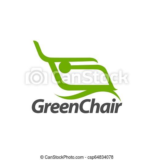 concept, résumé, illustration, vert, gabarit, logo, conception, chaise - csp64834078