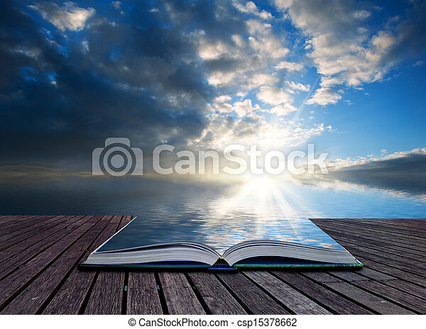 concept, reflété, créatif, abrutissant, livre, océan coucher soleil, pages, paysage - csp15378662
