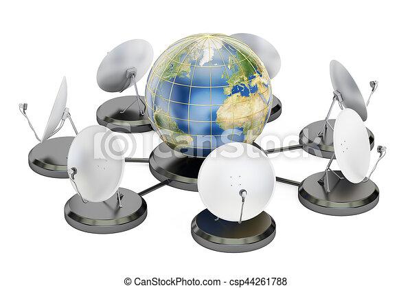 concept, rendre, télécommunications globales, 3d - csp44261788