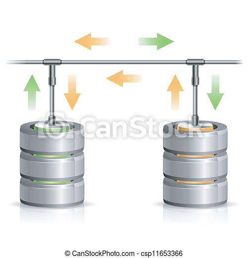 concept, reservekopie, databank - csp11653366