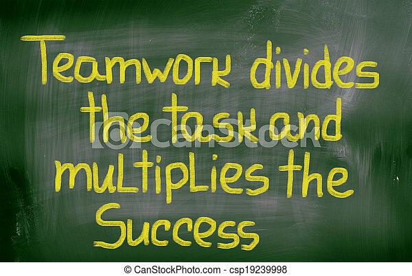 concept, reussite, tâche, collaboration, multiplies, divise - csp19239998