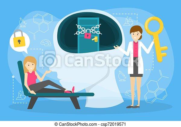 Un concepto de salud mental. Doctor tratar mentalidad persona. - csp72019571