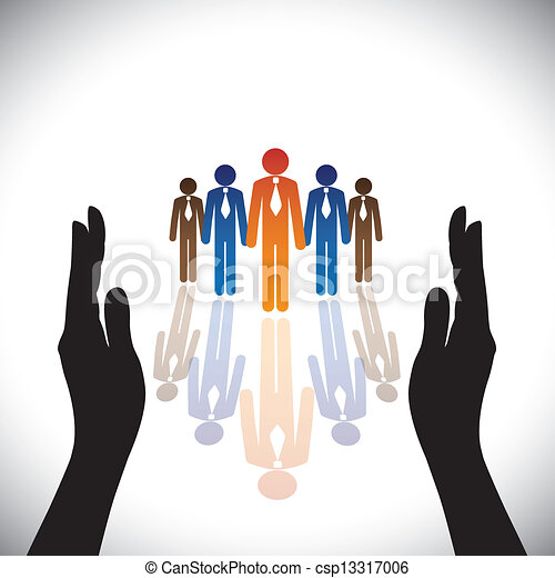 Concept- secure(protect) company corporate employees or executives with hand silhouette - csp13317006