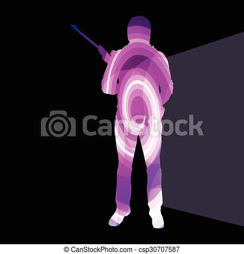 concept, silhouette, coloré, chasse, tir, illustration, fond, sport, homme - csp30707587