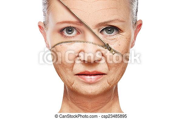 concept skin aging. anti-aging procedures, rejuvenation, lifting, tightening of facial skin  - csp23485895