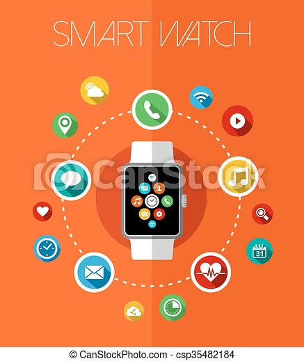 Concept smart watch design with app icons - csp35482184