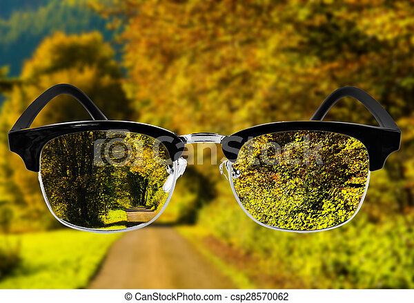 Optimales Gesundheitskonzept. Medizinisches Optikkonzept mit Brille. Visionsbrille - csp28570062
