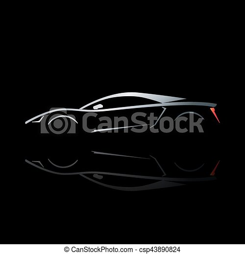Concept Sport Car Silhouette With Reflection Can Be Used As Symbol