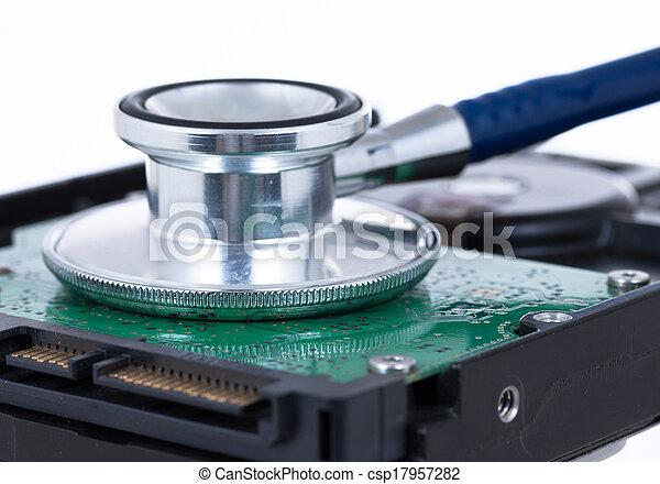 concept, stethoscope, medisch, hdd, computer - csp17957282