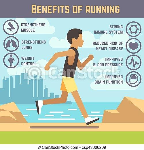 concept, style de vie, type, jogging, courant, vecteur, fitness, homme, dessin animé, exercice - csp43006209