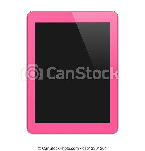 concept, tablette, pink., isolé, vide, screen., illustration, vertical, pc, vecteur, arrière-plan., réaliste, blanc - csp13301264