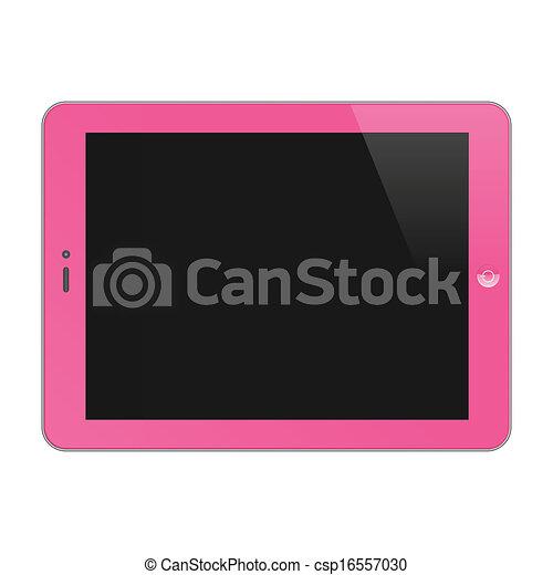 concept, tablette, pink., vide, screen., illustration, réaliste, pc, vecteur, horizontal - csp16557030