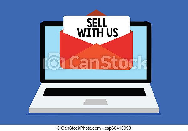 concept, texte, message ordinateur, écriture, électronique, virtual., vendre, vendeur, regarder, plate-forme, ligne, réception, email, vente, business, enveloppe, important, commerce, mot, us., papier - csp60410993