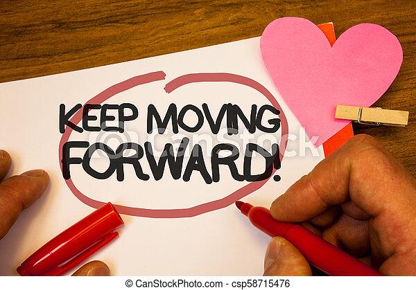 concept, texte, mouvement, crochet, papier, humain, rose, heart., stylo, noir, en avant!, progrès, call., rouges, persévérer, motivation, main, signification, en mouvement, mots, entouré, optimisme, garder, retenir, écriture, rivet - csp58715476