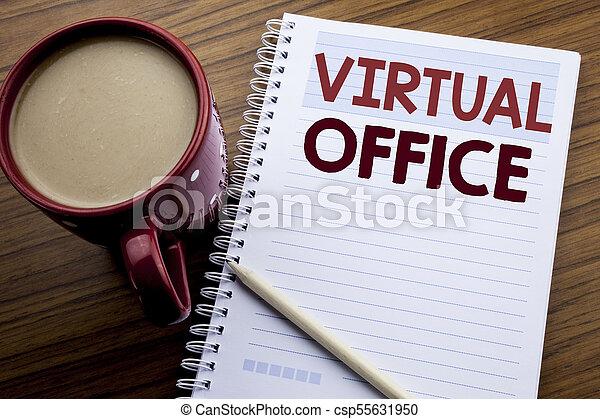 concept, texte, papier, fonctionnement, bureau., virtuel, écriture, note, écrit, livre, manière, ligne, café, business, projection, bloc-notes, main, fond, inspiration, bois, sous-titre, pen. - csp55631950