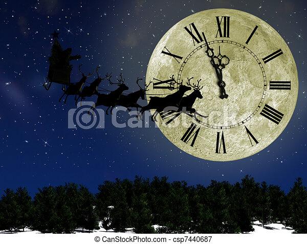 concept, traîneau, flèches, claus, cerf, veille, contre, lune, clair, clock., santa, année, nouveau - csp7440687