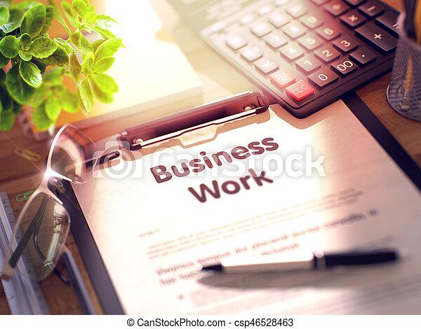 Clipboard con concepto de trabajo de negocios. 3D. - csp46528463