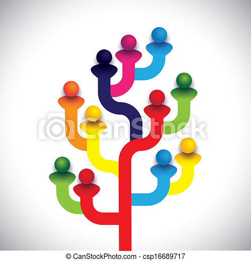 concept tree of company employees working together as a team - csp16689717