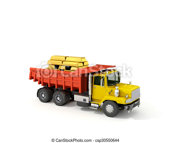 Concept, truck with gold bars in the back - csp30550644