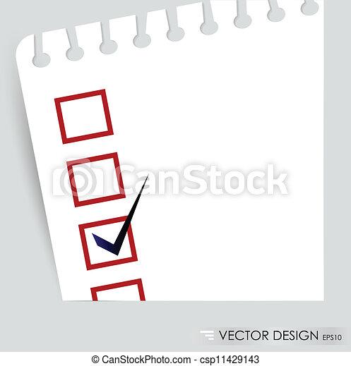 concept, vérifié, liste contrôle, boxes., illustration, vecteur, noir, marqueur, rouges - csp11429143