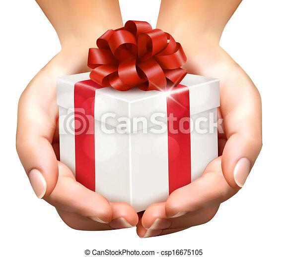 concept, vasthouden, schenking verlenend, boxes., kadootjes, achtergrond, handen, vakantie - csp16675105