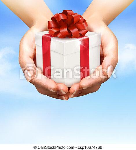 concept, vasthouden, schenking verlenend, boxes., kadootjes, achtergrond, handen, vakantie - csp16674768