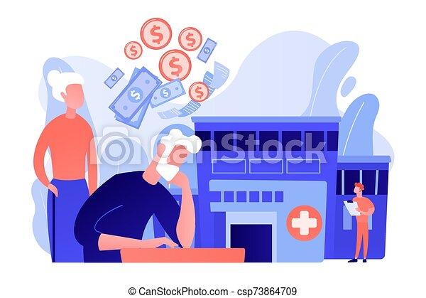 concept, vector, gezondheidszorg, kosten, pensioentrekkeren, illustration. - csp73864709