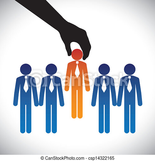 Concept vector graphic- hiring(selecting) the best job candidate. The graphic shows company making a choice of person with right skills for the job among many candidates competing for the same post - csp14322165