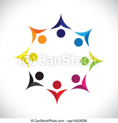 Concept vector graphic- abstract colorful united joyful children icons(signs). The illustration shows concepts like worker unions, employee diversity, community friendship & sharing, kids playing, etc - csp14424599