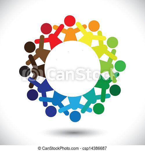 Concept vector graphic- abstract colorful children playing icons - csp14386687