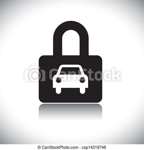 Concept vector graphic- black & white car(motorcar) & lock icon - csp14319748