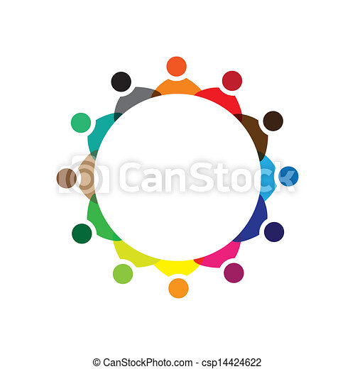 Concept vector graphic- colorful company employees meeting icons(signs). The illustration represents concepts like worker unions,employee diversity,community friendship & sharing,children playing,etc - csp14424622