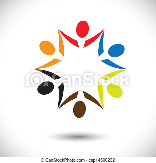 Concept vector graphic- colorful happy party people icons(symbols). The illustration shows concepts like worker unions,employee diversity,community friendship & sharing,kids playing,etc - csp14500232