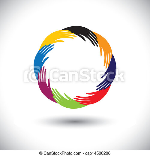 Concept vector graphic- human hand symbols(icons) as circle or r - csp14500206