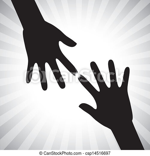 Concept vector graphic- two hand silhouettes touching each other. The illustration with palm symbols(icons) represents concepts like supporting, helping, guiding, etc - csp14516697