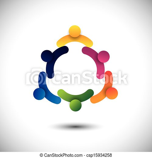 concept vector of circle kids playing or children having fun together. The graphic also represents groups of people as community, school kids interacting, workers & employees meetings - csp15934258