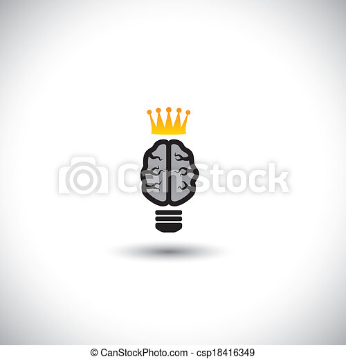 concept vector of ideas - brain as light bulb icon with crown. - csp18416349