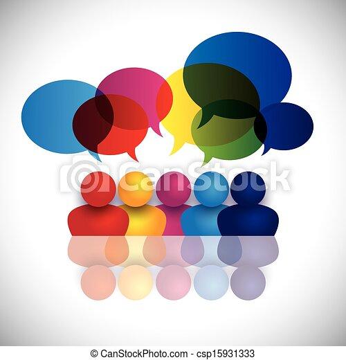 concept vector of school kids talking or office staff meeting - csp15931333