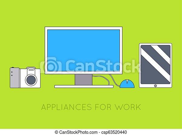 concept., vetorial, computador, fundo, local trabalho, desenho, ilustração, apartamento - csp63520440