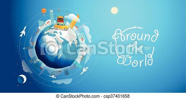 concept, voyage, illustration, tour, vecteur, voiture., mondiale, travers - csp37401658