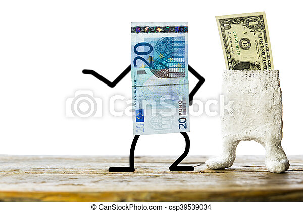 Concept weak dollar, strong euro - csp39539034