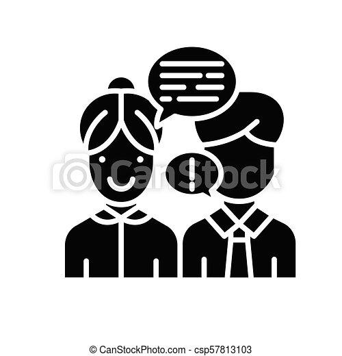 concept., wektor, czarnoskóry, symbol, interlocutor, płaski, ikona, znak, przekonywający, illustration. - csp57813103