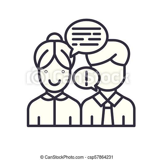 concept., wektor, czarnoskóry, symbol, interlocutor, płaski, ikona, znak, przekonywający, illustration. - csp57864231