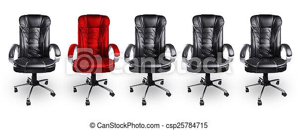 concept, werkkring stoelen, black , stander, rood, uit - csp25784715