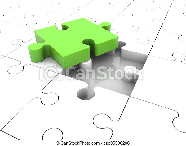 Concept with puzzle pieces in green - csp35500290
