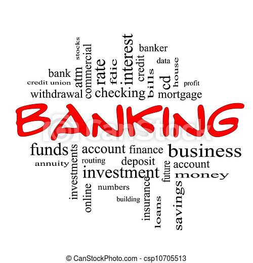 concept, woord, &, bankwezen, zwart rood, wolk - csp10705513